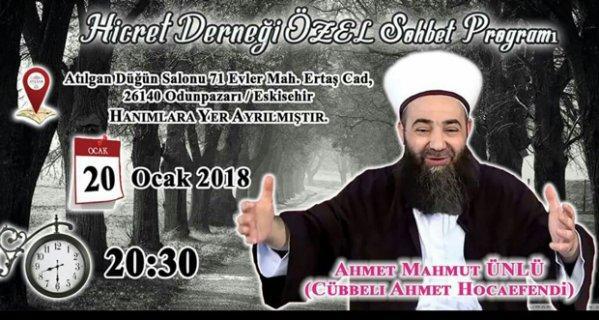 Cübbeli Ahmet Eskişehir'e geliyor