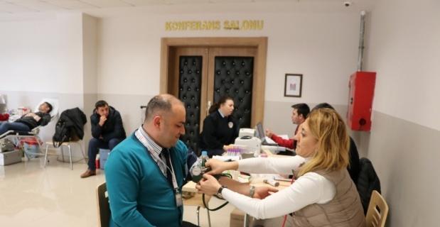 Emniyet personelinden kan bağışına destek