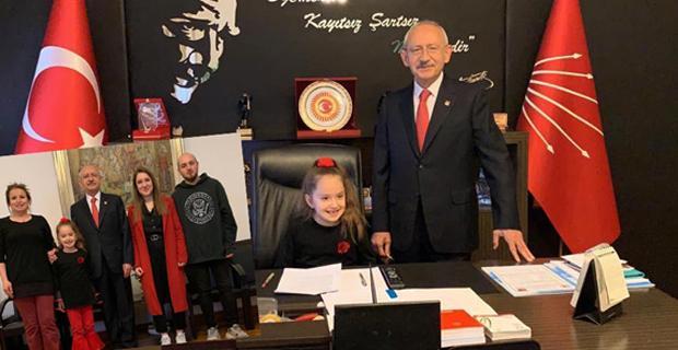 Şehit kızı Bulem, Kılıçdaroğlu'nun koltuğuna oturdu