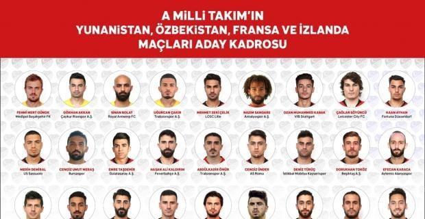 Üç futbolcu A Milli Takım'a ilk kez davet edildi