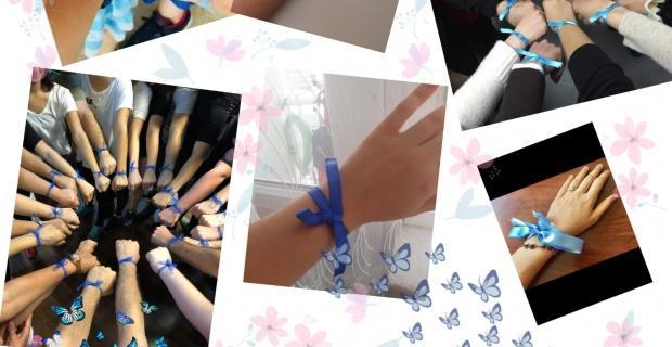 Çocuklar için mavi kurdele tak!