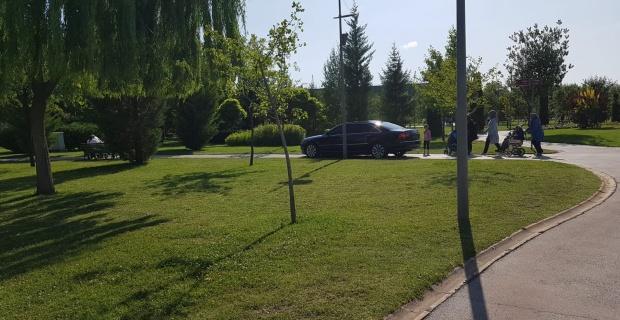 Sazova Parkı'nda otomobil turuna tepki