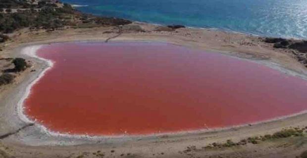 Kalp şeklindeki pembe göl