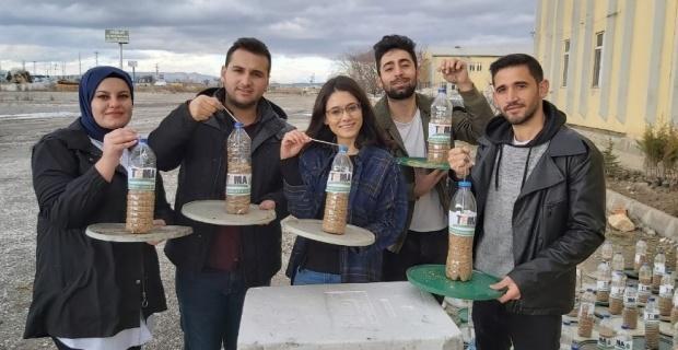 Gönüllü gençler besin bulmada zorluk yaşayan kuşlar için yem dağıttı