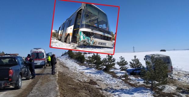 Halk otobüsü yoldan çıktı: 6 yaralı