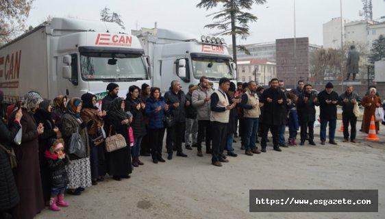 Yardım tırları İdlib'e gönderildi