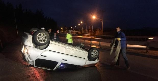 Takla atarak durabildi, sürücü yaralı