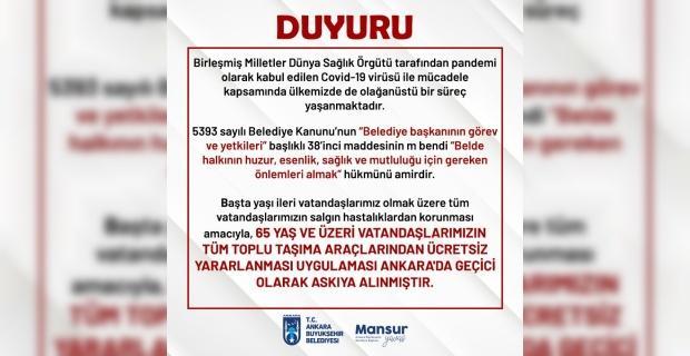 Ankara'da 65 yaş üstü ulaşım kartları iptal edildi