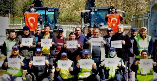 Belediye çalışanlarından evde kal çağrısına destek