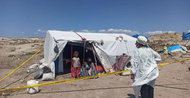 7 kişilik aile çadırlarında karantinaya alındı