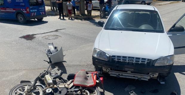Otomobille çarpışan motosiklet sürücüsü yakalandı