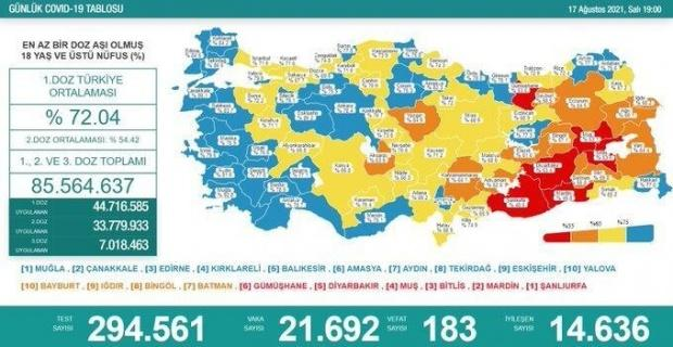 Korona virüsten 183 kişi hayatını kaybetti