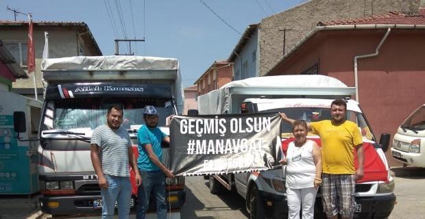 Yeşiltepe Mahallesi'nden Manavgat'a yardım kamyonları yola çıktı