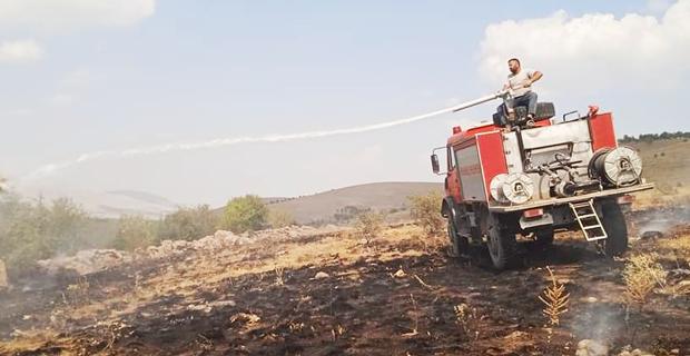 Afyon'da yangın vişne bahçesine sıçramadan söndürüldü
