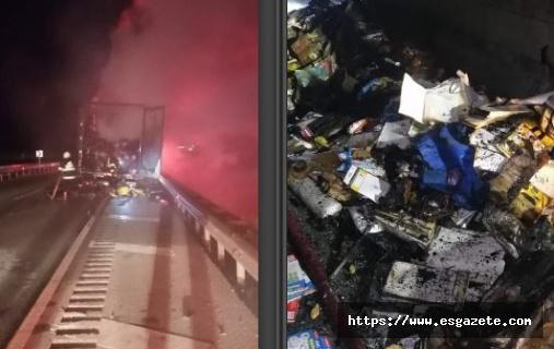 Kargo taşıyan kamyon alev alev yandı
