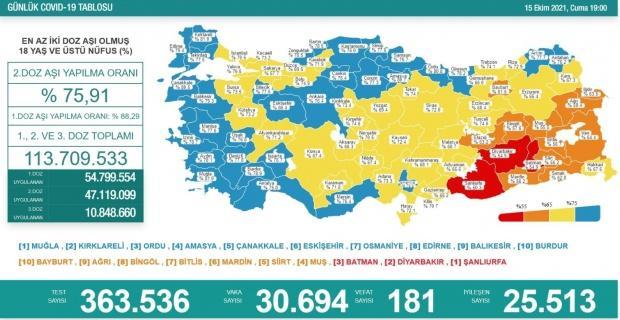 Korona virüsten 181 kişi hayatını kaybetti