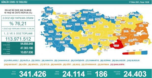 Korona virüsten 186 kişi hayatını kaybetti