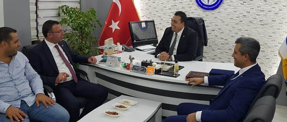 Başkan aday adayı Sivri Sağlık Sen'i ziyaret etti