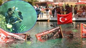 Dalgıçlar 15 Temmuz şehitleri için suya daldılar