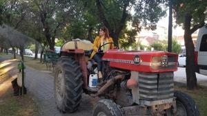 Kadın muhtar traktöre binip mahallesini ilaçladı
