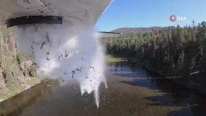 ABD'de göllere havadan binlerce balık bırakıldı