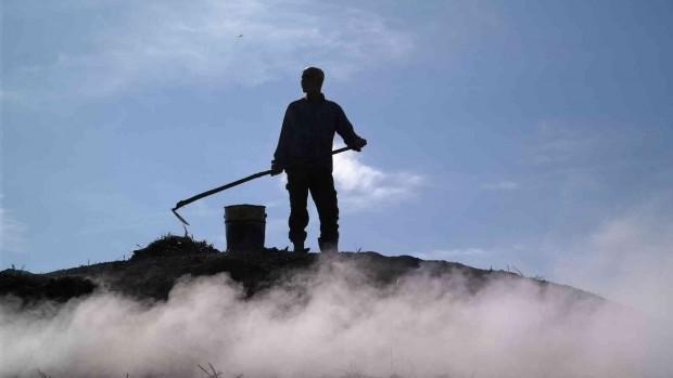 (ÖZEL) Mangal kömürü işçilerinin bin 400 rakımdaki zorlu mesaisi